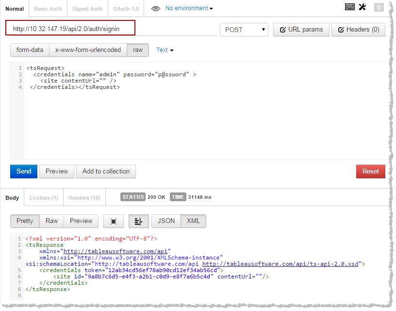 Testing-Tableau Server REST API - Tableau