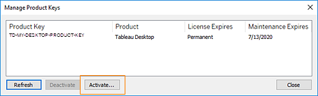 activation key for tableau 10.3