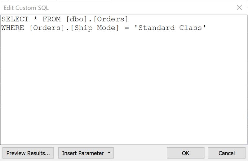 Herstellen einer Verbindung zu einer benutzerdefinierten SQL-Abfrage
