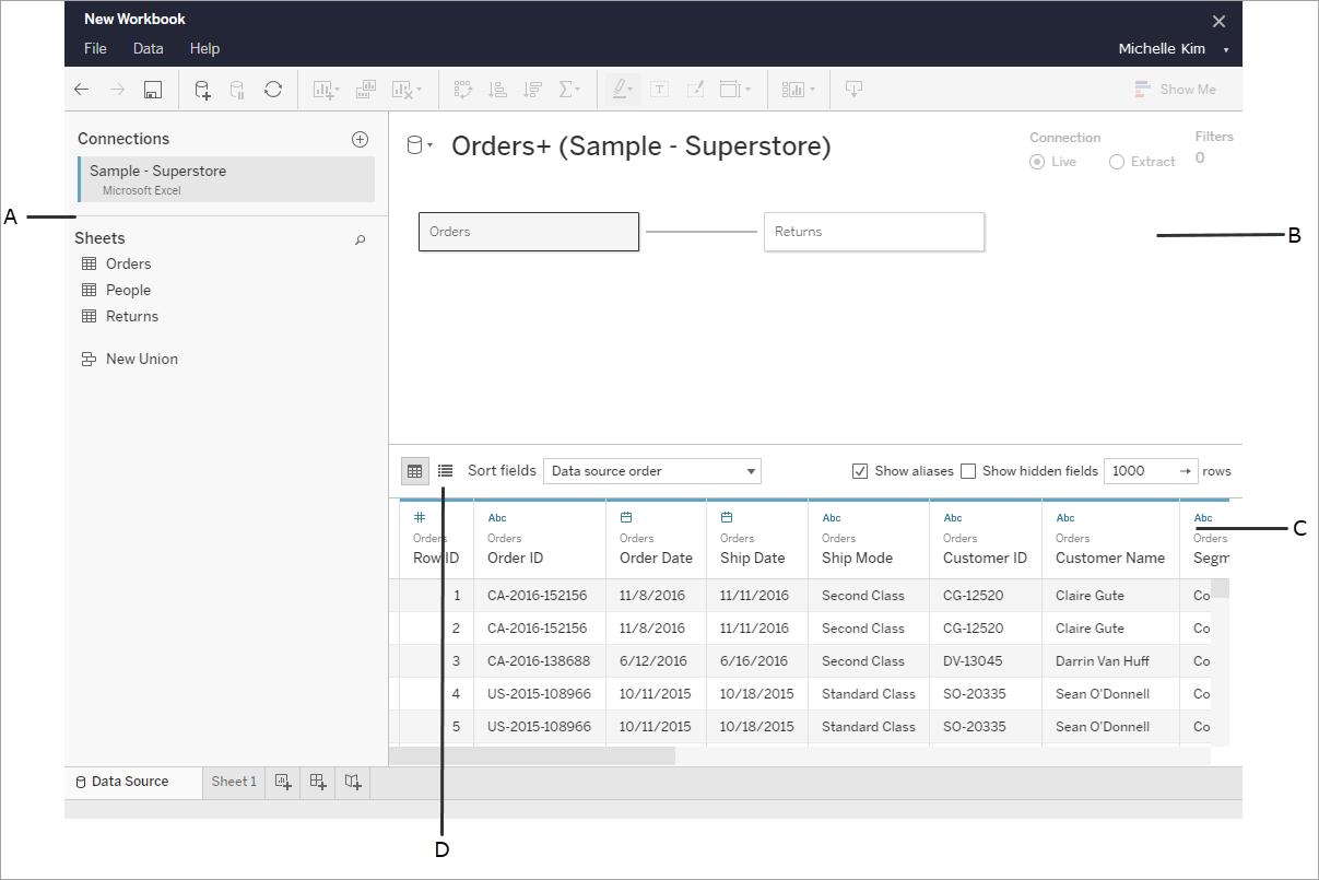 Afbeelding van Tableau Data Management tools.