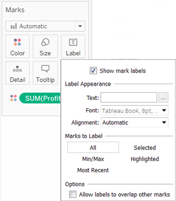 Show and Hide Mark Labels - Tableau