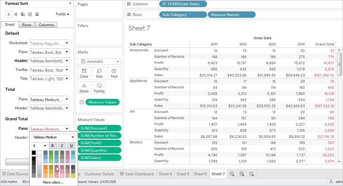 Format at the Worksheet Level - Tableau