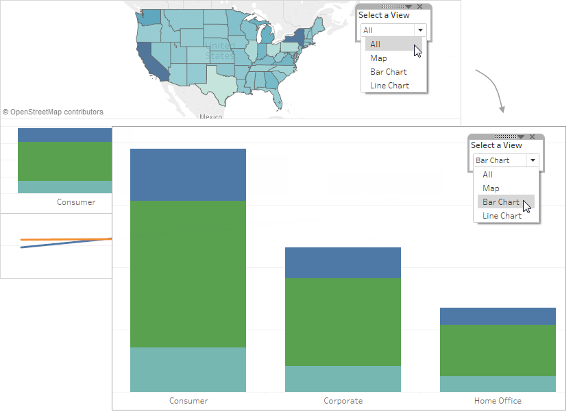 Create a Sheet Selector for a Dashboard - Tableau
