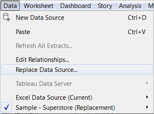 replace data source with data source published     |Tableau