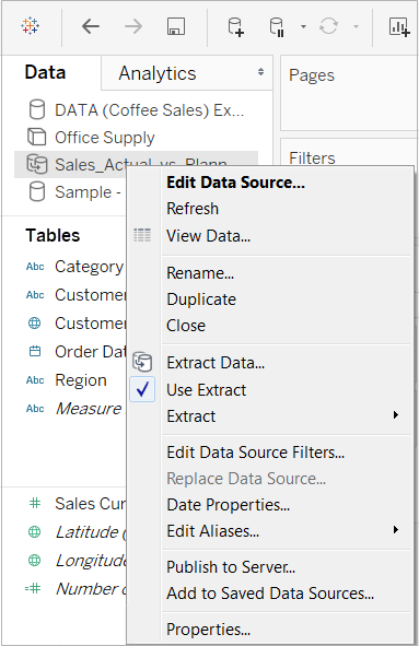 Navigating Data Sources in the Data Pane - Tableau