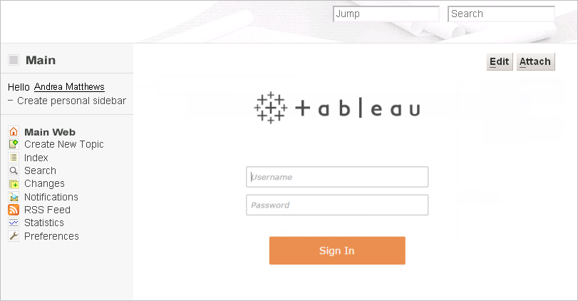 Embed Views into Wikis - Tableau