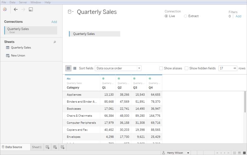 Excel Tableau