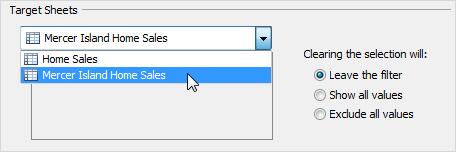 sheets di destinazione per le azioni con filtri