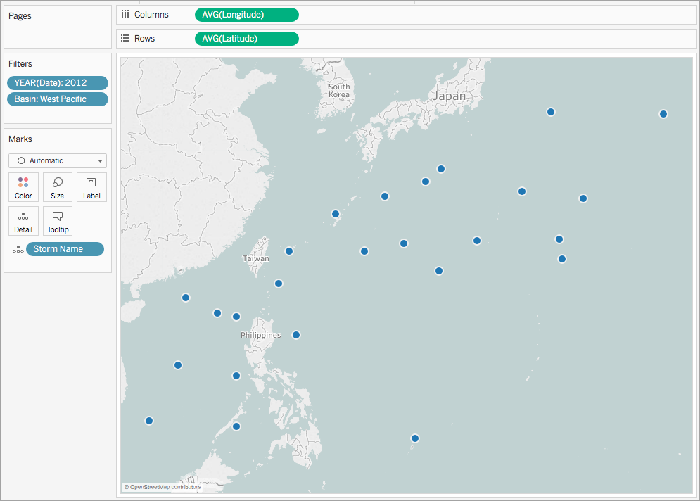 Create Maps That Show A Path Over Time In Tableau - Japan map latitude and longitude