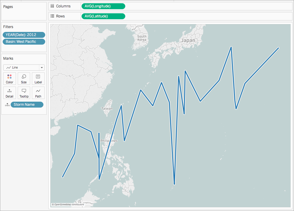 Create Maps that Show a Path Over Time in Tableau Tableau