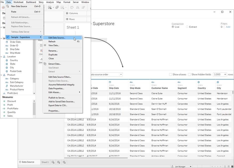 Edit Data Sources - Tableau