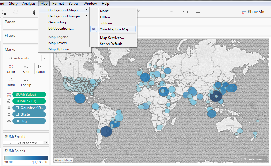 Use Mapbox Maps - Tableau