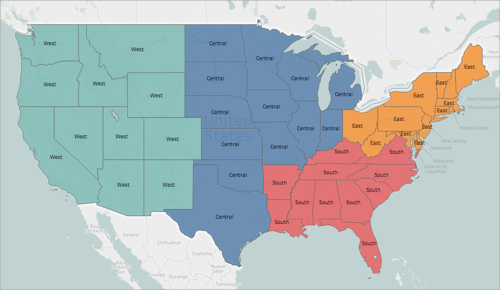 the image below shows each state in the u s colored by region west central south and east the dimension region is on color on the marks card