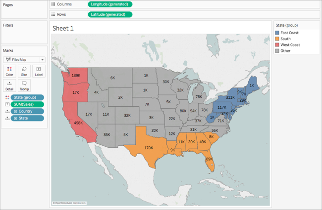 Get Started Mapping With Tableau - Us State Map East Coast