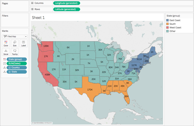 Get Started Mapping With Tableau - Interactive us map color states