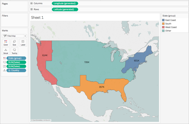 Get Started Mapping With Tableau - California latitude