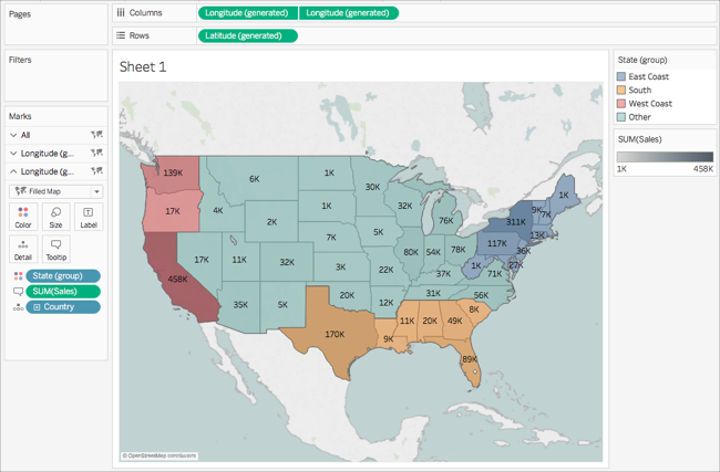 Get Started Mapping With Tableau - Latitude and longitude map of the us