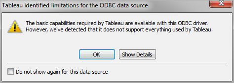 Tableau and ODBC - Tableau