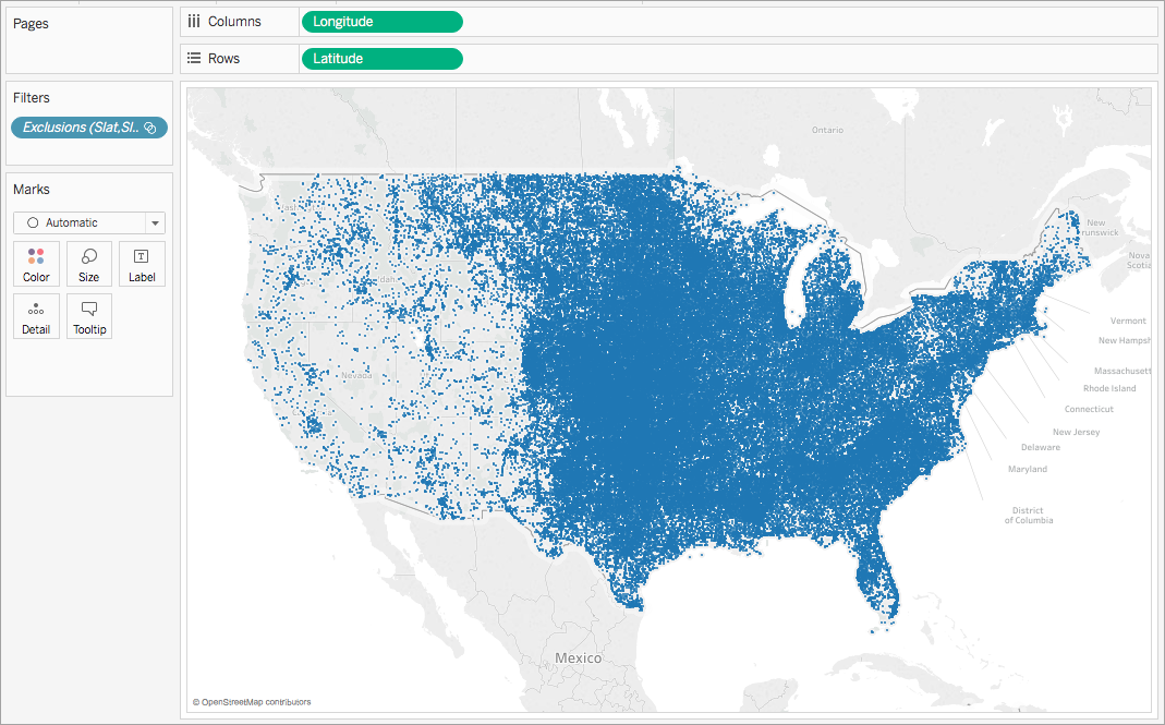 Create Maps That Highlight Visual Clusters Of Data In Tableau - Us longitude map