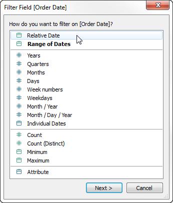 Quick Start: Relative Date Filters - Tableau