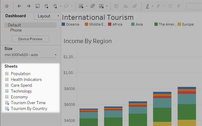Hide and Show Sheets in Dashboards or Stories