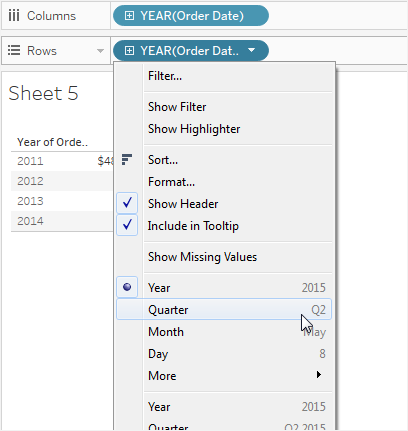 Click On The Right Side Of Field To Open Context Menu Then Choose Quarter