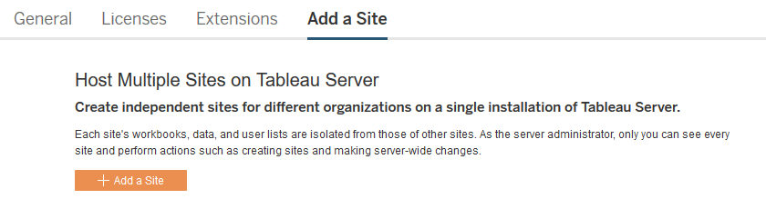Add or Update Sites - Tableau