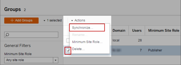 Synchronize Active Directory Groups in a Site - Tableau