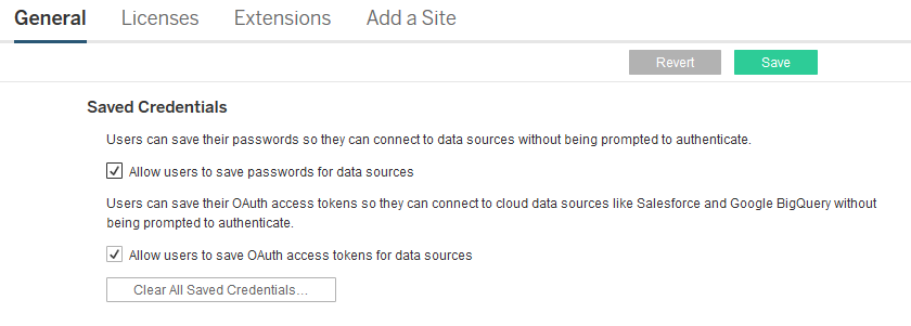 Allow Saved Access Tokens - Tableau