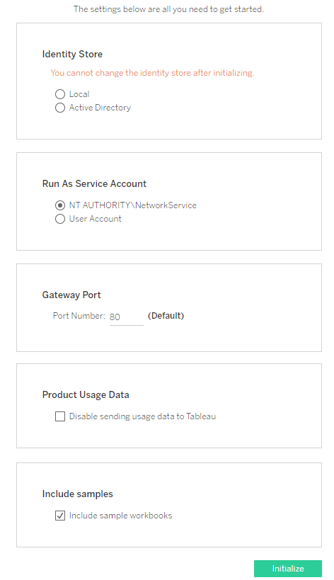 Configure Initial Node Settings - Tableau