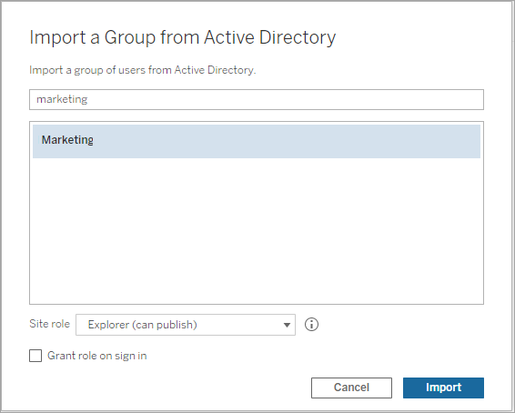 Create Groups via Active Directory - Tableau