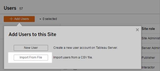 Import Users - Tableau