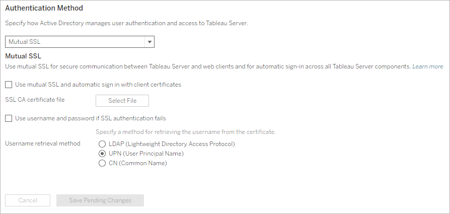 Configure Mutual SSL Authentication - Tableau