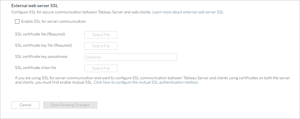 Configure SSL for External HTTP Traffic to and from Tableau
