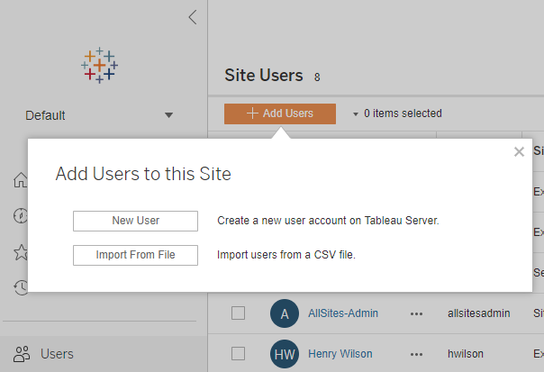 Add Users to a Site - Tableau