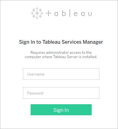 iniciar sesión en la interfaz de usuario web de tableau services manager
